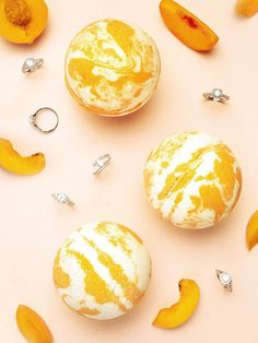 Peaches and Cream Bath Bomb - Classic Ring Collection – Charmed Aroma Liquid Coconut Oil, Galaxy Bath Bombs, Cream Baths, Floating Shelves Diy, Special Recipes, Swirls, Shea Butter, Easter Eggs, Essential Oils