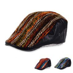 20e8378d Stripes Woolen Knitted PU Vintage Newsboy Hat Golf Driving Gatsby Cabbie  Ivy Cap