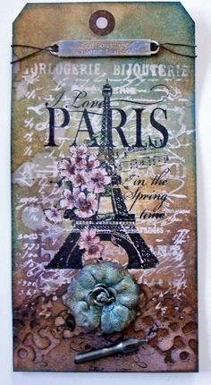 Paris altered tag - Scrapbook.com