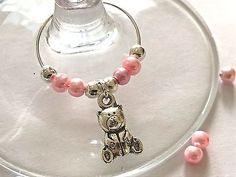 6x 10x Teddy Bear Silver Wine Glass Charms Pink Beads Party Favours Gift New