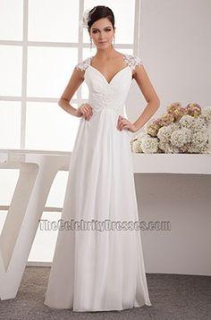 Floor Length Chiffon Lace Cap Sleeve Wedding Dress Bridal Gown