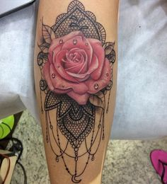 Mandala rose tattoo 💗➰ discovered by MonCheri Neue Tattoos, Body Art Tattoos, Sleeve Tattoos, Tatoos, Rose Tattoo Sleeves, Lace Rose Tattoos, Yellow Rose Tattoos, Rose Sleeve, Pretty Tattoos