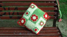 Handmade crocheted pillowcase 40cm X40 cm. Made from wool, mohair,  acrylic and cotton.