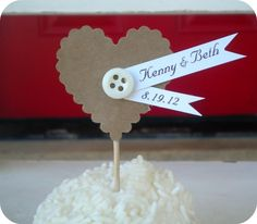 Button cupcake pick - via Etsy - could also use for place cards!