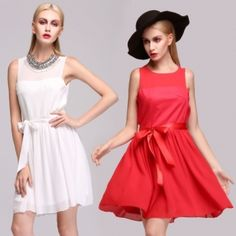 Stylish New Fashion Lady Women Party Sleeveless Chiffon O-neck Dress