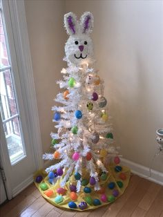 : DiWHYMy Easter Tree - First year I decorate (Christmas) tree all year round.My Easter Tree - First year I decorate (Christmas) tree all year Easter Tree Decorations, Easter Wreaths, Spring Wreaths, Holiday Tree, Holiday Crafts, Christmas Trees, Holiday Ideas, Christmas Ornaments, Easter Crafts For Adults