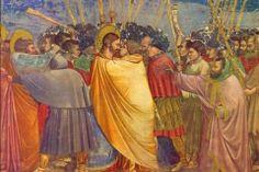 Kiss of Judas fresco by Giotto, Scrovegni Chapel, Padua, Italy Italian Renaissance, Renaissance Art, Medieval Paintings, Life Of Christ, Jesus Christ, The Uncanny, Italian Painters, Famous Art, Medieval Art