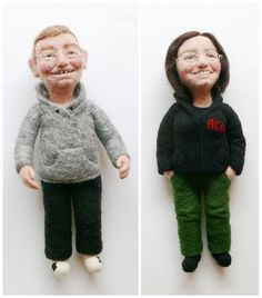 Personalized needle felted portrait puppet / Free by FforFelt, $230.00