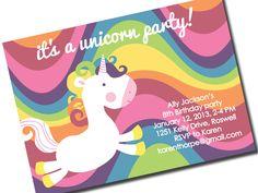 Rainbow Unicorn Invitations Rainbow by Mayiproposeapostcard, $18.00