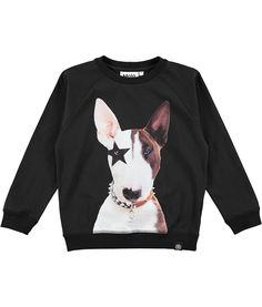 Reuben - Rock Split Face - Long sleeve black sweatshirt with dog print Cool Boys Clothes, Boy Dog, Urban Outfits, Sweater Fashion, Black Sweaters, Kids Boys, Printed Cotton, Boy Outfits, Sweatshirts