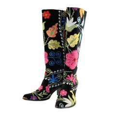 Embroidered Floral Boots.