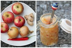 Applechutney with chilli Cooking Jam, My Favorite Food, Favorite Recipes, Edible Gifts, Raw Vegan, Chutney, Homemade Gifts, Pickles, Chili