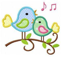twin birds bird applique machine embroidery design by FunStitch, $4.00