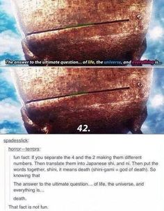 Fun fact 42 is death hitchhikers guide to the galaxy Tumblr Stuff, Tumblr Posts, Funny Quotes, Funny Memes, Hilarious, Epic Quotes, Movie Memes, Movie Facts, Book Quotes