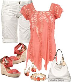 "Cute coral and white outfit for Spring or Summer.  ""Spring Casual"" by amabiledesigns on Polyvore"