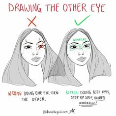 "Instagram Art Featuring Page (@theartscloud) on Instagram: ""By @daniellepioliart - ""Quick Tip Monday: Drawing the other eye!! - This one is based on the Comic…"""