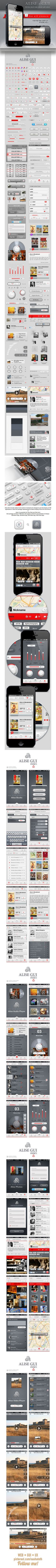 Alise iPhone GUI Pack / for Retina Display by Vadim Pleshkov, via Behance ••• Alise GUI includes default and custom UI elements for designers and developers of iOS applications.