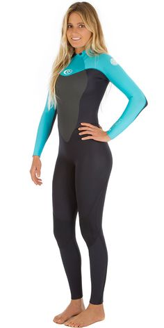 2017 Rip Curl Ladies Omega 4/3mm Back Zip Wetsuit in Black/Turquoise WSM4CW