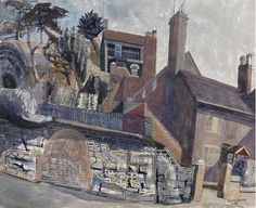 """""""House at Ironbridge"""" by Edward Bawden, 1956 (watercolour, gouache and ink on paper)"""