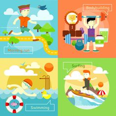 Surfing, Swimming, Morning Run by robuart on Creative Market