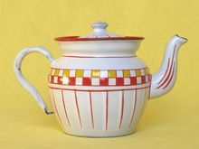 Adorably Petite French Enamelware Teapot - MINT cond. - early 1900s