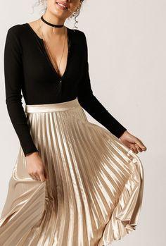 Pleated Midi Skirt by Azalea