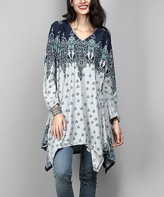 Gray & Navy Border V-Neck Handkerchief Tunic