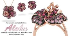 The Aloha Collection from Le Vian.  Available in Na Hoku stores and on http://www.nahoku.com/collections/designer-collection/levian.html.  Rose Gold Hibiscus Pendant, Earrings, and Ring with Pink Sapphires and Diamonds.