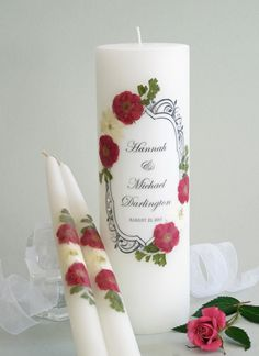 Beautiful Vintage Red Rose and Crystal Personalized Wedding Unity Candle Set - Affordable Elegance Bridal -