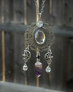Gothic Moon Goddess Silver Cameo Necklace with Dark Amethyst Crystal by InkandRoses13