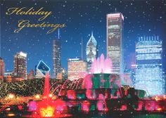 #Personalized Christmas / Holiday cards Chicago's Buckingham Fountain - Faster Graphics