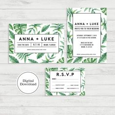 Tropical Palm Wedding Invitation Set  Digital by Studio133DesignCo