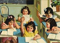 A painting of Canada's famous Dionne Quintuplets in a school classroom. Art by Andrew Loomis, 1938 Images Vintage, Vintage Posters, Vintage Clip, Vintage Pins, School Daze, Art School, School Times, School Classroom, Camille Redouble