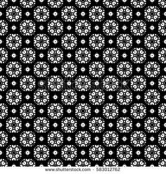 Vector seamless pattern, ornamental monochrome geometric texture. Black & white abstract background, traditional motif, oriental style. Repeat mosaic tiles. Dark design for prints, decoration, textile