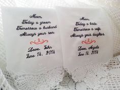Embroidered Wedding Handkerchief Giftset by TheBrideandGroom, $36.00