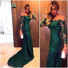 Green Lace Long Sleeve Mermaid Prom Dresses 2016 Sexy Sheer Emerald Formal Evening Gown Party Dress Custom Make