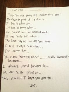Teacher thank you note prompts. Makes those end of the year and teacher appreciation week notes so much simpler!