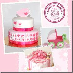 Ideias Batizado Menina Cake, Desserts, Food, Girl Christening, Decorating Cakes, Ideas, Pie Cake, Tailgate Desserts, Pastel