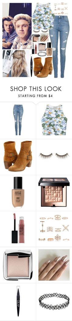 """""""Backstage with Narry"""" by kennedey-lynn-freeman ❤ liked on Polyvore featuring Topshop, Chicnova Fashion, Anne Klein, shu uemura, Bobbi Brown Cosmetics, Maybelline, New Look and Hourglass Cosmetics"""
