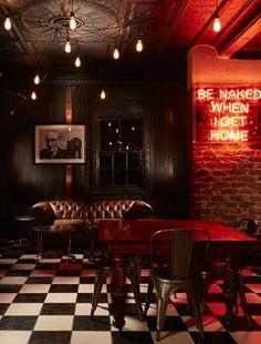 """Be Naked When I Get Home"" neon at Hell's Kitchen, Melville, Johannesburg, South Africa Layout Design, Pub Design, Lounge Design, Bar Lounge, Pub Interior, Bar Interior Design, Restaurant Interior Design, Café Bar, Zigarren Lounges"