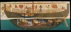A cutaway illustration of what the Uluburun ship may have looked like when fully laden with cargo.