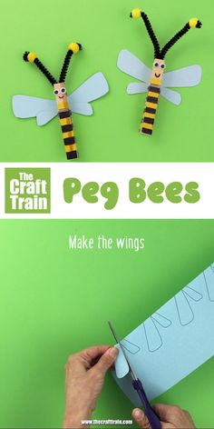 Adorable peg bee craft kids can make. Use sharpies to decorate your pegs and glue the printable wings, antennae and eyes into place. This is a perfect addition to a unit on mini beasts or insects. for women organization pin crafts Bee Crafts For Kids, Craft Projects For Kids, Summer Crafts, Toddler Crafts, Diy For Kids, Craft Kids, Insect Crafts, Bug Crafts, Popsicle Stick Crafts