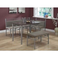 Charming Monarch Cappuccino With Silver Metal Corner 3pcs Dining Set I 3076 $404.14