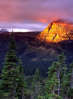 Sunrise on Heavy Runner Mountain (Glacier National Park) by Morris McClung