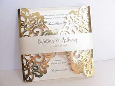 Laser Cut Wedding Invitation, Gold Foil Wedding Invite, Lace Wedding Invite, Bohemian Wedding Invitation, SQUARE - 2 GOLD FOIL