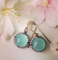 "chrysoprase & Diamond ""Candy"" earrings"