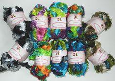 Up for sale 10 balls of Fringe Ribbon Angelika Yarn 2 balls per color  Shiny Fringe Ribbon Yarn with amazing vivid color, soft and silky...