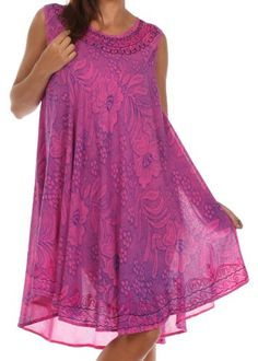 Sakkas 81531 Embroidered Floral Tank Sheath Caftan Dress / Cover Up – Fuchsia / One Size