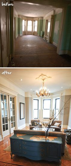 Wow. How incredible are these before and after photos of @MrsLimestone {Brooklyn Limestone}'s living room? Via MyColortopia.com