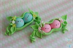 Kawaii polymer clay 2 baby peas in a pod